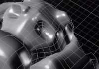 A black and white picture of a complex 3D model.