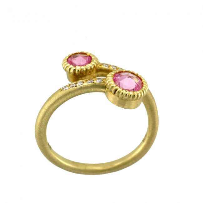 Pink Sapphire, Diamond and Yellow Gold Ring