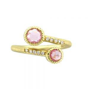 yellow gold and pink sapphire ring
