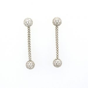 White sapphire and sterling silver dangle earrings.