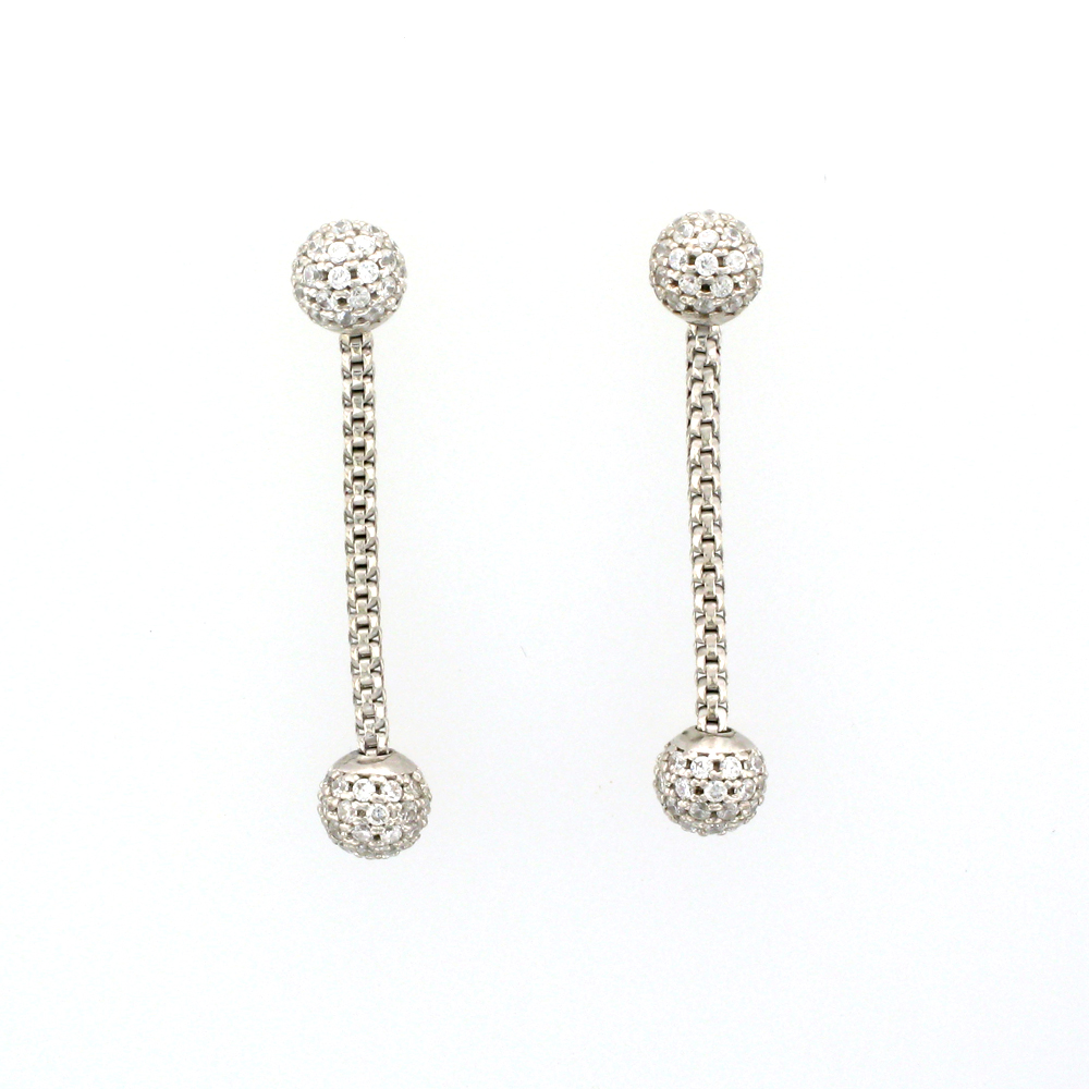 White Sapphire and Sterling Silver Earrings