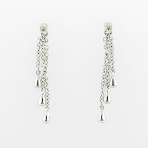 White metal long chain earrings