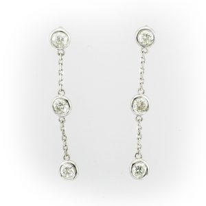 Drop chain earrings with 3 bezel set stones