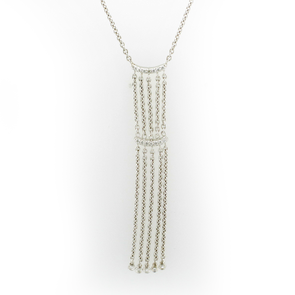 Diamond and White Gold Fringe Pendant