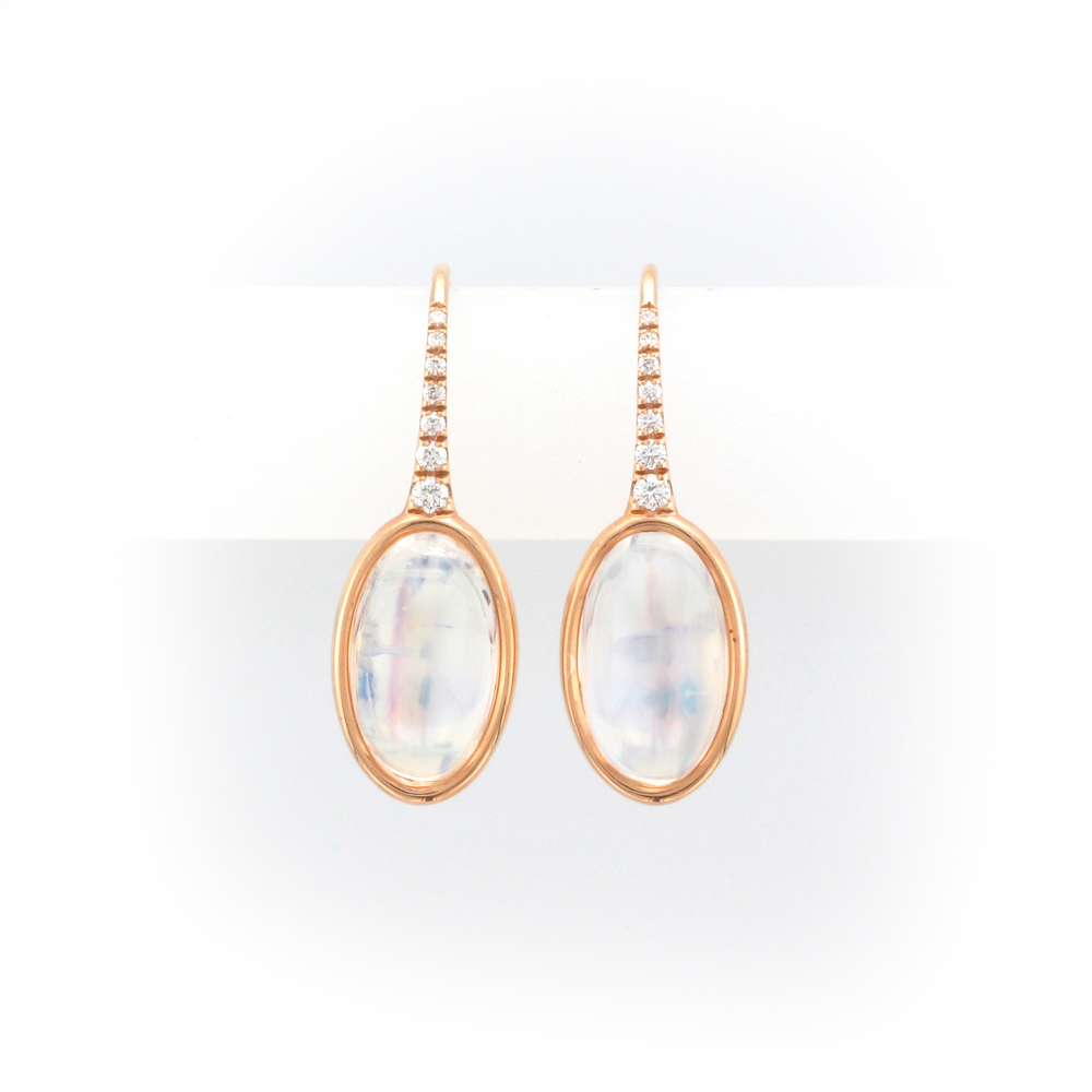 Moonstone, Diamond, and Rose Gold Earrings