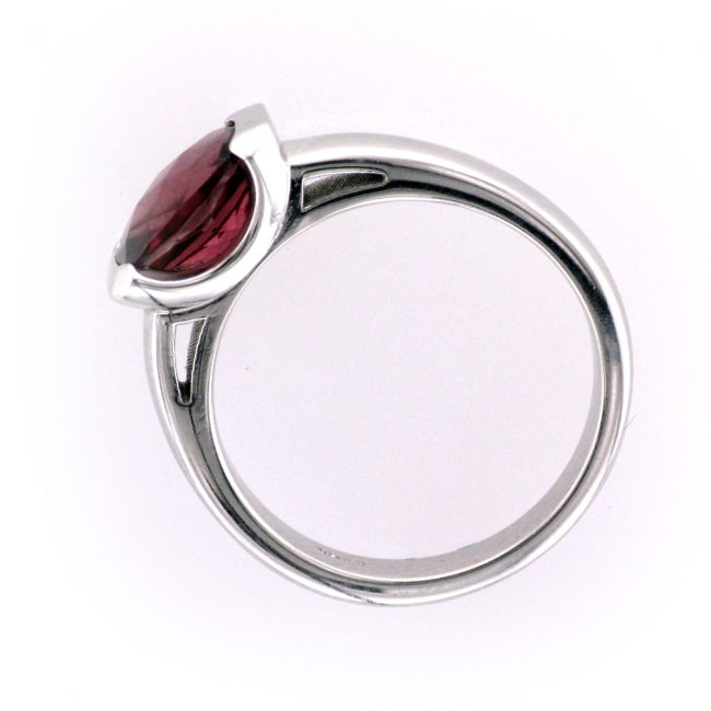 Garnet and White Gold Ring