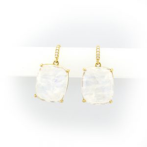 Earrings with large rectangular stones and smaller ones