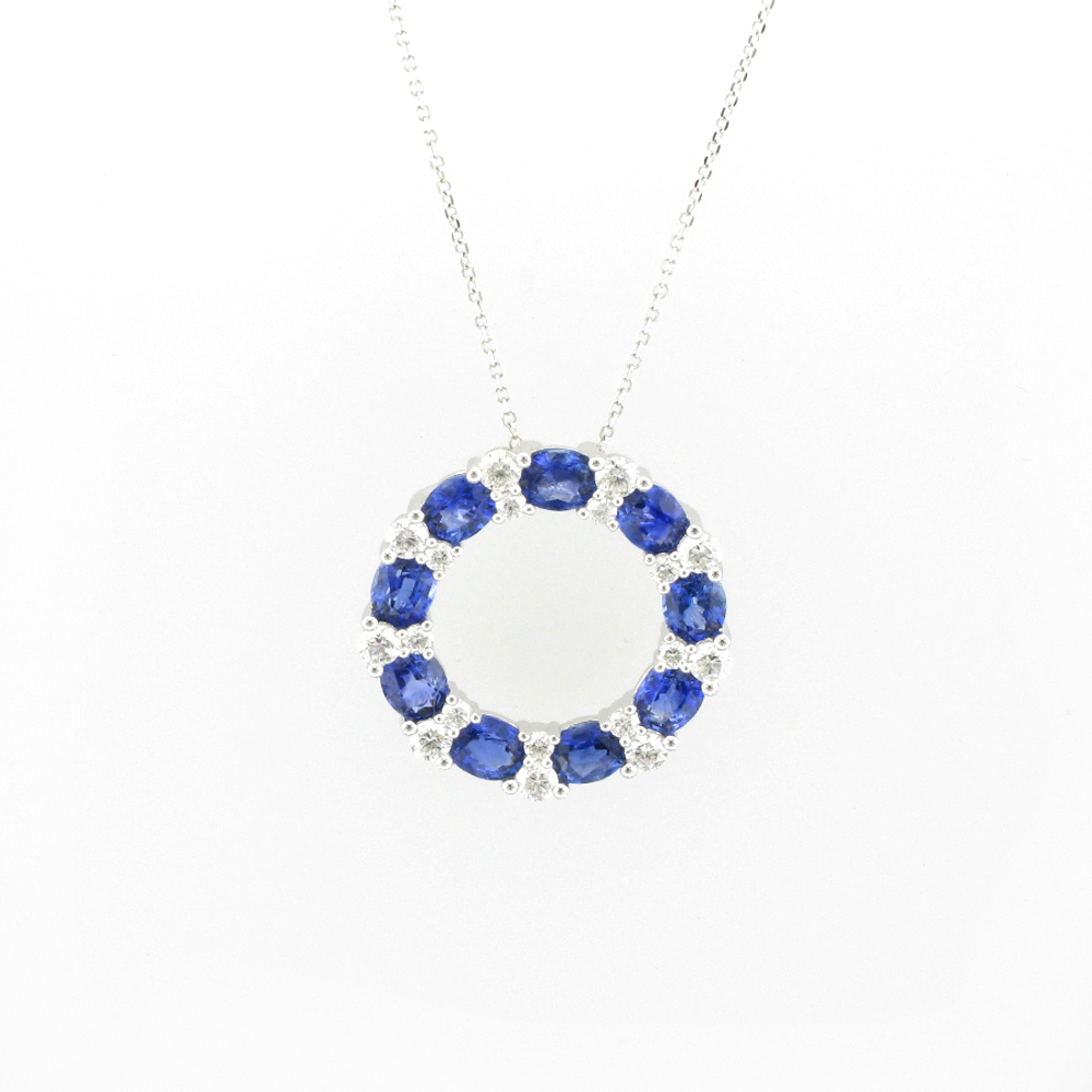 Diamond and Sapphire Circle Necklace