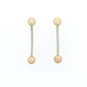 Yellow gold earrings with chains and hanging parts