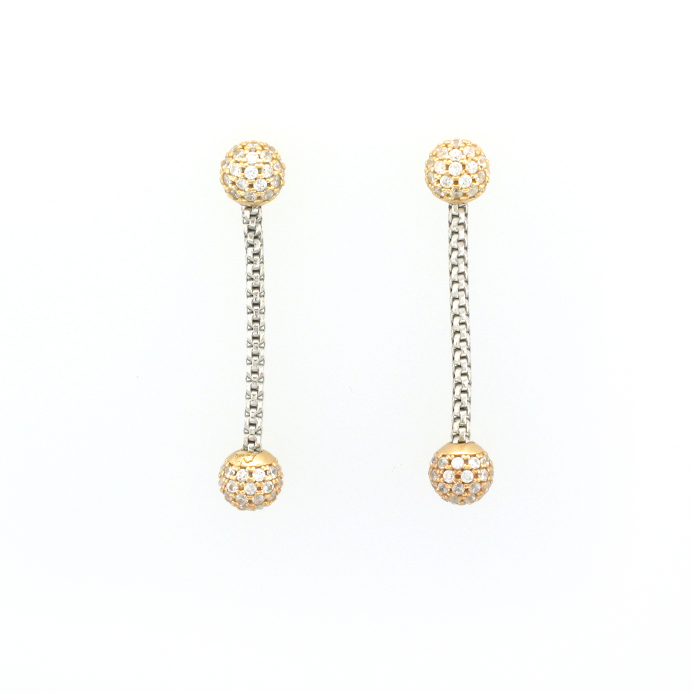 White Sapphire, Sterling Silver, and Yellow Gold Vermeil Earrings