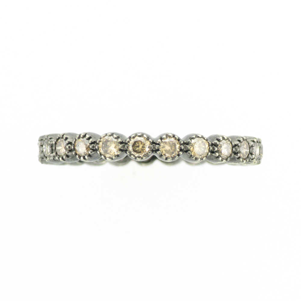 Brown Diamond Ring with Beaded Bezels