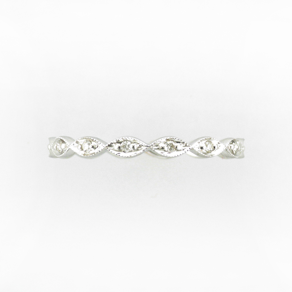 Beaded White Gold Diamond Ring