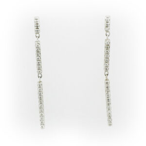 white gold bar drop earrings have a total Karat weight of .22.