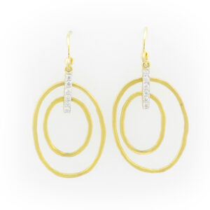 drop earrings are made up of two 14 karat yellow gold ovals and have a total carat weight of 0.12.