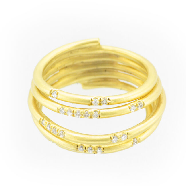 Multi Layered Scattered Diamond Ring