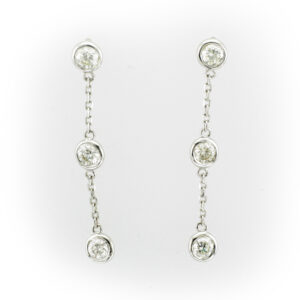 Drop chain earrings with 3 bezel set Stones each