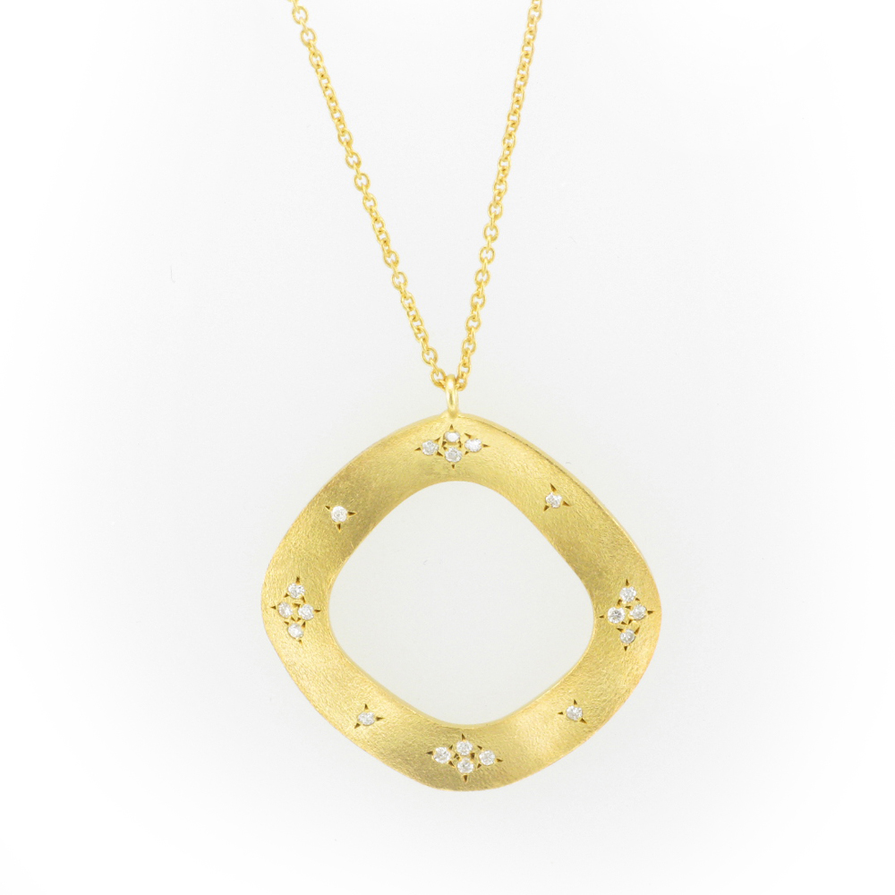 Rounded Square Yellow Gold Pendant