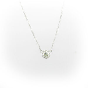 14 karat white gold chain is 16 inchs long and has a 0.37 carat round diamond that has a G/VS rating.