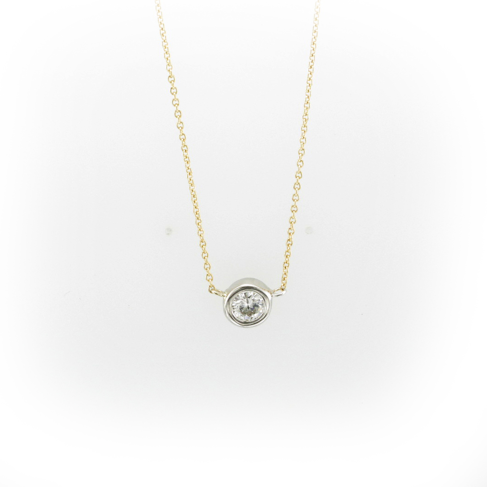 Yellow Gold Round Diamond Necklace