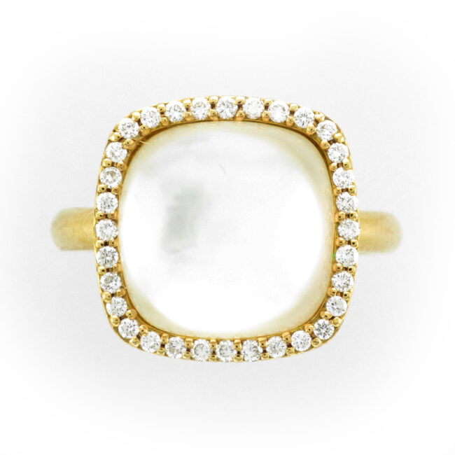Crystal, Mother of Pearl and Diamond Ring