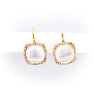 18 karat rose gold, diamonds total 0.47 carats mother of pearl and rock crystal quartz drop earrings.