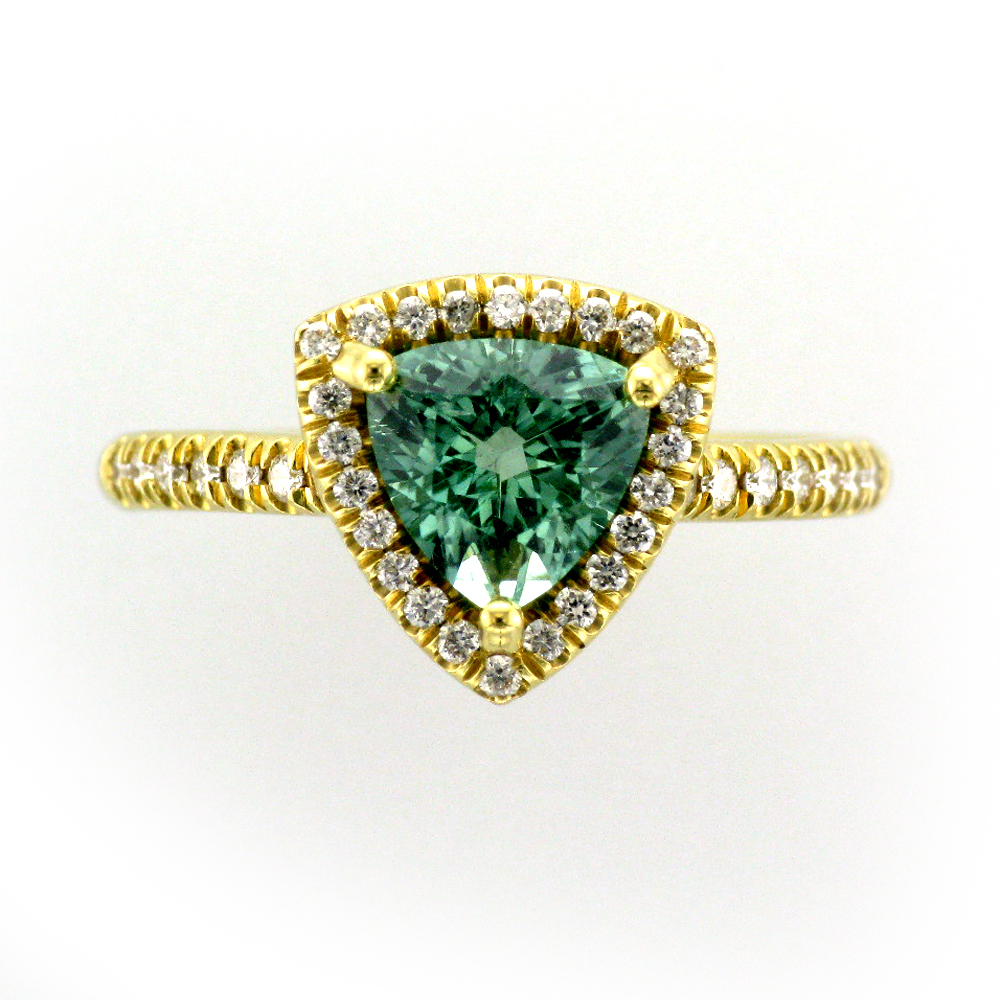 Diamond and Green Tourmaline Ring