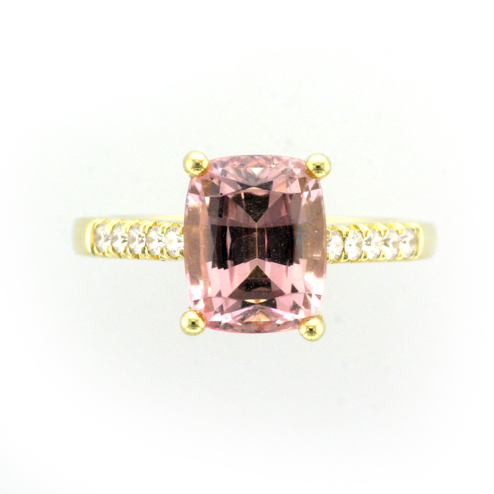 Yellow Gold, Pink Tourmaline, and Diamond Ring