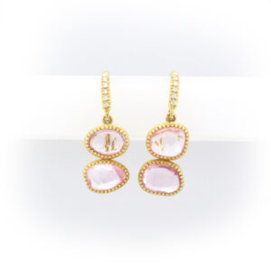 yellow gold earrings have 4.96 carats of pink sapphires and 0.07 carats of rose cut diamonds.