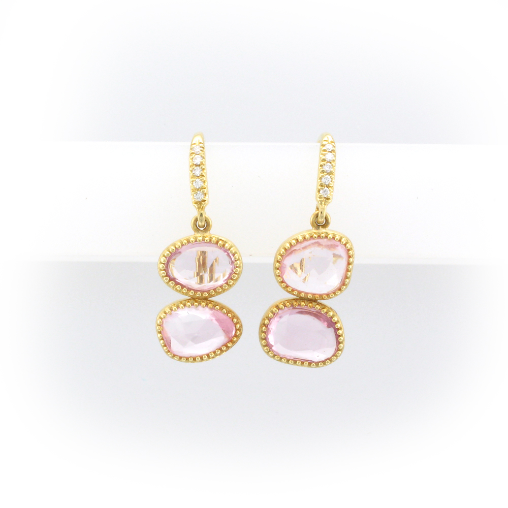Pink Sapphire and Rose Cut Diamond Earrings