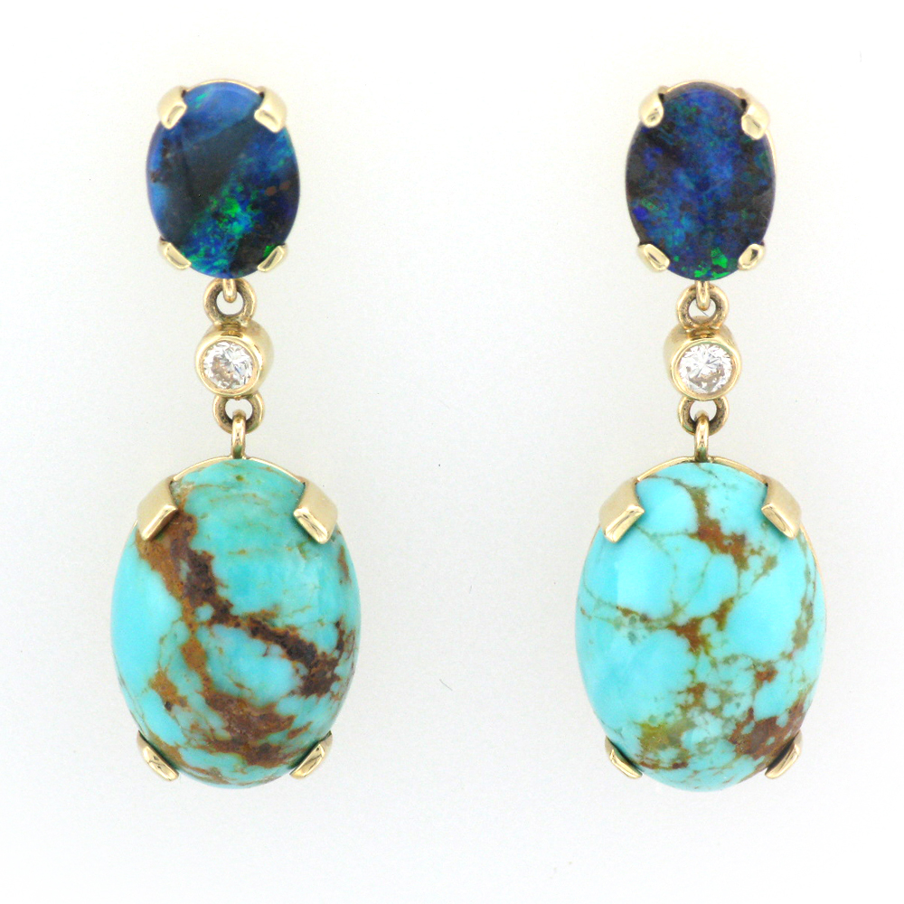 Yellow Gold Earrings with Opal, Diamond, and Turquoise