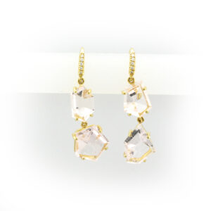 Yellow gold drop earrings with 4 large transparent