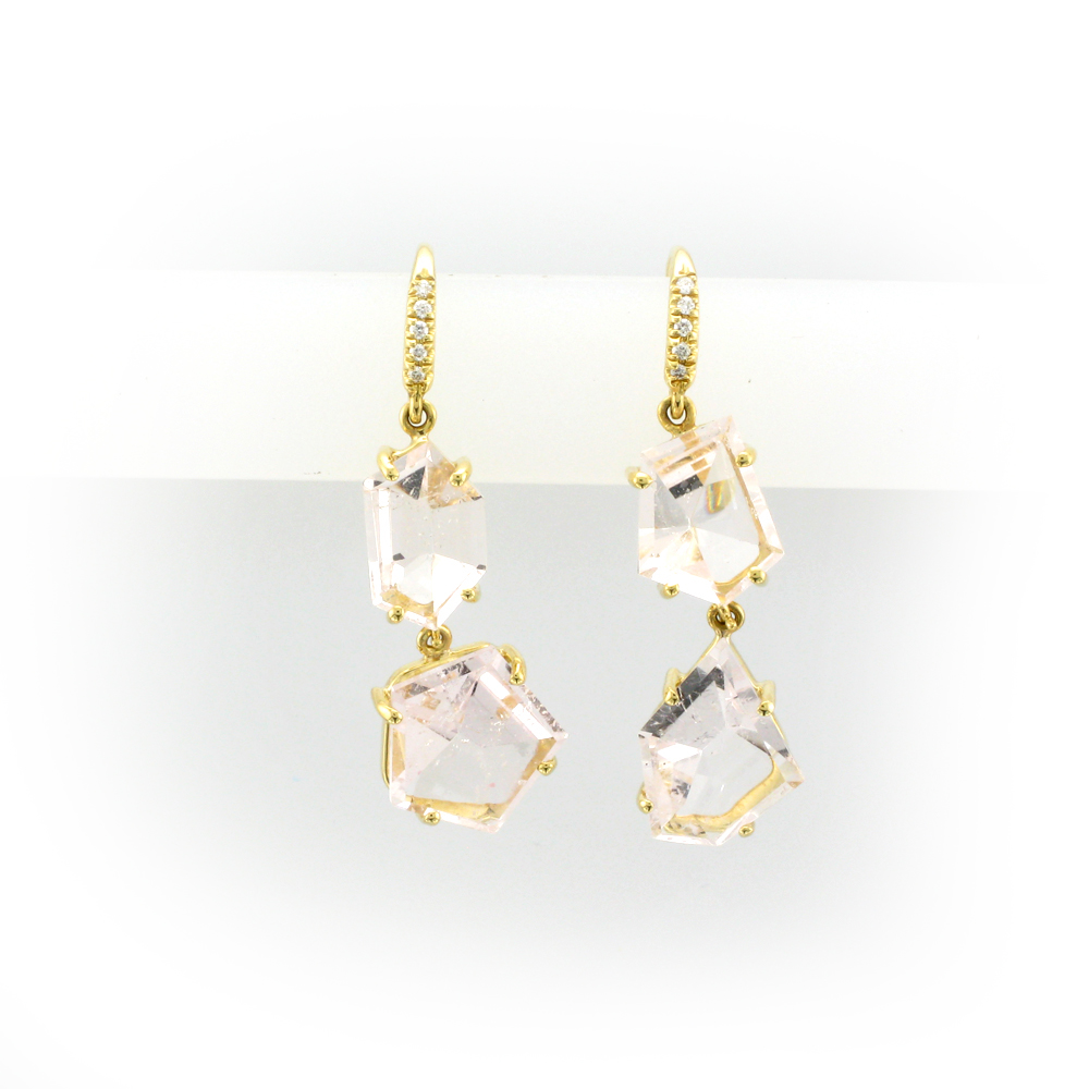 Yellow Gold and Morganite Earrings
