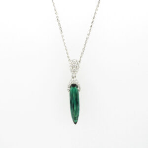 necklace is made from 18 karat white gold with a 2.37 carat green tourmaline stone and a total of 0.43 carats in diamonds.
