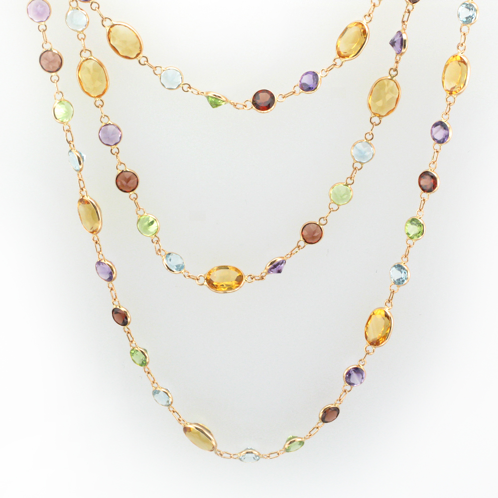 Rose Gold and Multi Gemstone Necklace