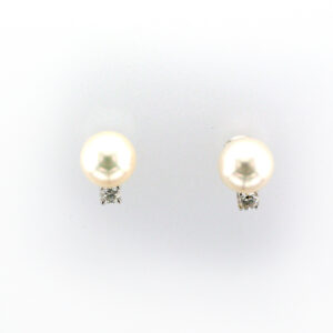 These cultured pearl earrings have are 7.8 to 8 millimetres and stones with a total weight of 0.20 carats.