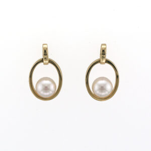 14 karat Yellow Gold drop earrings each have a 6.8 to 7 millimetre Pearl.