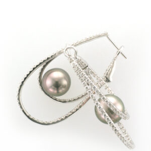 These earrings have 10 to 11 millimetre Tahitian Pearls and diamonds totaling 2.44 carats.