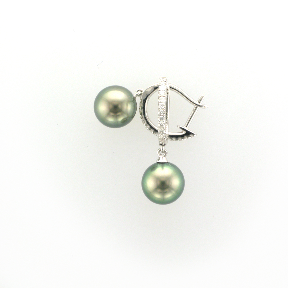 Tahitian Pearl and Diamond Drop Earrings