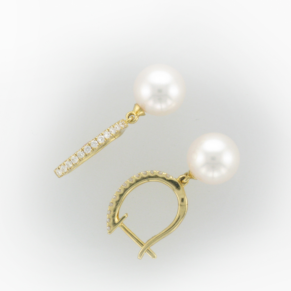 Pearl and Diamond Huggie Earrings