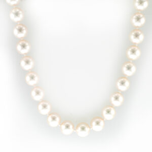 Pearl necklace is made up of 7 to 7.5 millimetre pearls and has two mystery clasps.