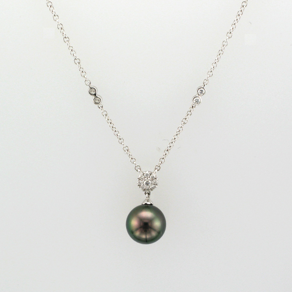 Diamond and Tahitian Pearl Necklace