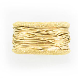 This wide 14 karat yellow gold ring has a hand wrapped wire band with stone finished edges.