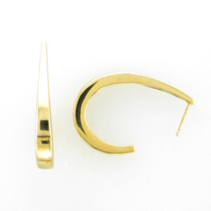 J shaped hoop earrings are made from 14 karat yellow gold.