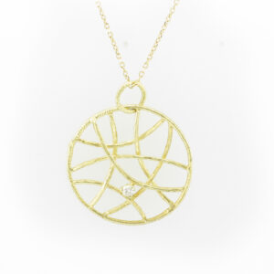 This criss cross pendant is made from 14 karat yellow gold and has a .05 carat diamond.