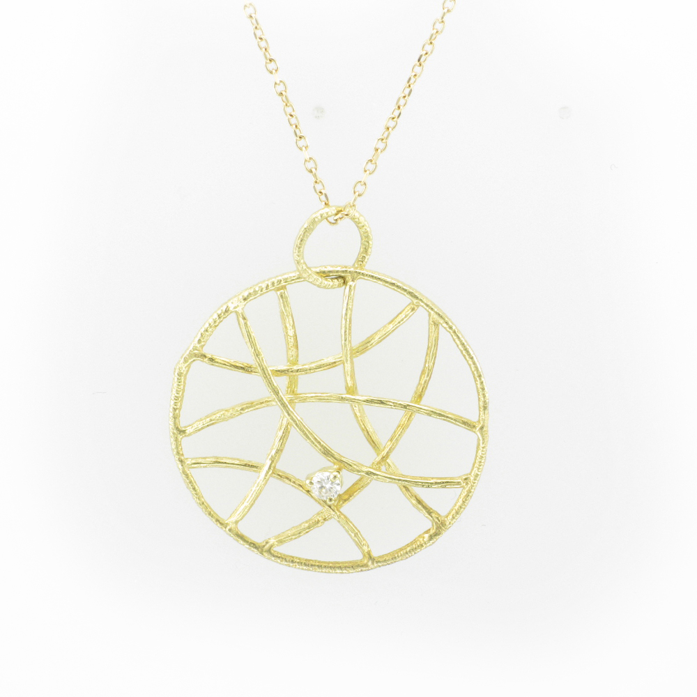 Yellow Gold Criss Cross Diamond Pendant