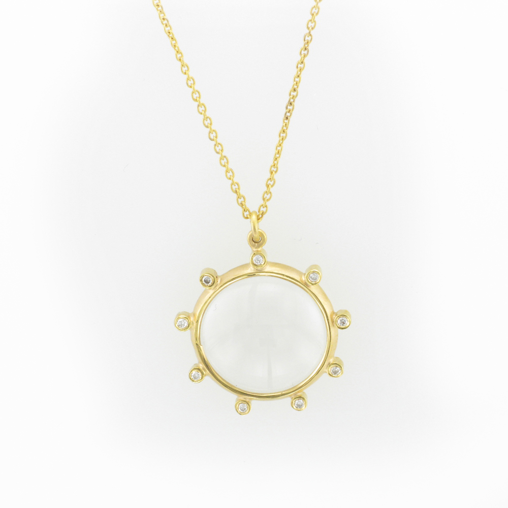 Yellow Gold Magnifying Glass Pendant with Diamonds