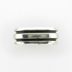 This striped band is made from sterling silver.