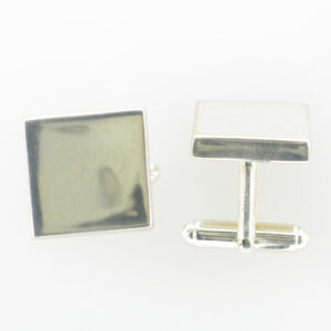 square cuff links are made of sterling silver.