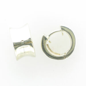 These concave snap hoop earrings are made of sterling silver.