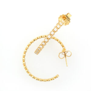 Gold vermeil, white sapphire, inside out hoop earrings 30.5 mm diameter.